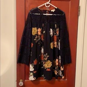 Navy Floral Dress by umgee